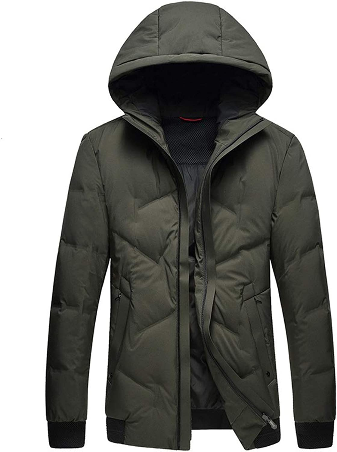 New Down Jacket, Men's Casual Short Thick Hooded Jacket, Winter Outdoor Cold Warm Jacket, Suitable for Cold Weather (color   Green, Size   XXXL)