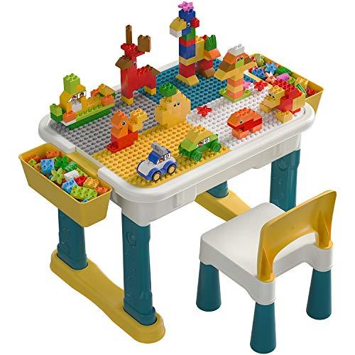 burgkidz Tavolo e Sedia per Bambini con Grandi Blocchi da 135 Pezzi, Bambini Hanno Un Grande Tavolo da Gioco per Edilizia e Costruzioni, Disegno e Ristorazione, Artigianato e Compiti a Casa