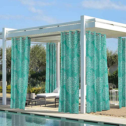 ParadiseDecor Dahlia Flower Decoration Outdoor Sheer Curtains Outdoor Grommet Top Single Panel Repeating Figures Fashioned Dots Spots Mother Earth Theme Peony Graphic Image White Teal 108W x 84L Inch