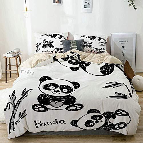 Qoqon Juego de Funda nórdica Beige, Estampado de Poses de Panda Dibujadas a Mano para niños, Juego de Cama Decorativo de 3 Piezas con 2 Fundas de Almohada