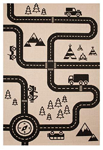 Zala Living Kinderteppich Spielteppich Road Map Charly Schwarz, 120x170 cm
