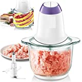 Piyuda Electric Food Processor for Meat, Vegetables, Fruit and Nuts, 300W Stainless Steel Motor Unit and High/Low Speed Choice