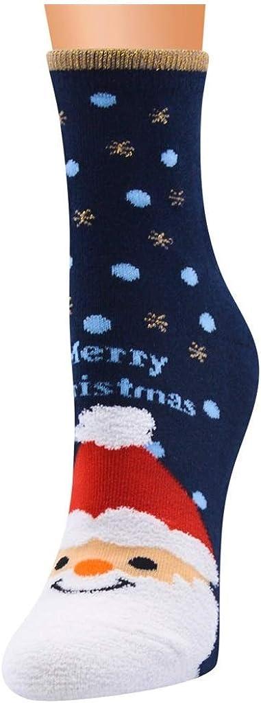 Womens Mid Stocking Socks Hosiery, Snowman Santa Claus Deers Printed Thermal Sock
