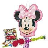 PartyMarty Pinata-Set: Pinata Minnie Mouse, Schläger + Maske + Konfetti bunt , 50g, GmbH® für Kindergeburtstag