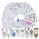 Topdo 40 Feuille Autocollant d'ongle Optionnel Sticker Autocollant Ongle Deco Manucure Nail Art Stickers Set Gel UV Ongles Paillettes 6.4cm*5.3cm