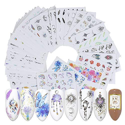 Toruiwa Nagel Sticker Wrap Wasser Transfer Aufkleber Nail Tattoo Nageldekoration Nail Tips Dekorationen für Nail Art Phone Case Einladungskarten Dekoration 40 Stück
