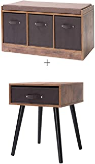 IWELL Mid-Century Nightstand & Rustic Storage Bench with 3 Removable Drawers, Wooden End Table, Side Table for Small Spaces & Bedroom, Solid Wood Legs Decent Furniture, Rustic Brown