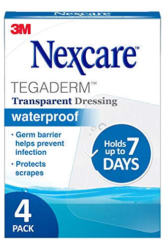Nexcare Tegaderm Waterproof Transparent Dressing, 4 Inches X 4-3/4 Inches, 4 Count