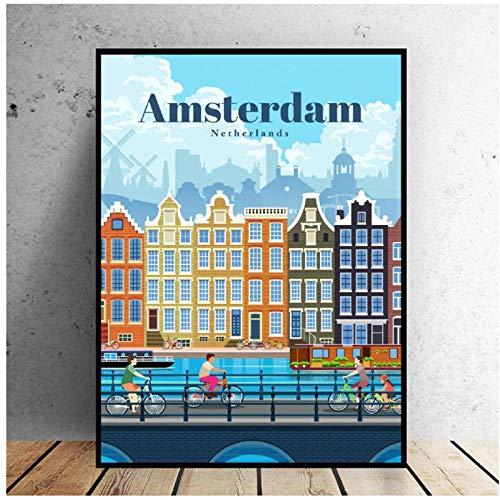 MULMF reis naar Amsterdam canvas reisposter muurkunst schilderijen voor woonkamer Home Decor- 50X70cm Oningelijst