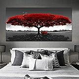 woplmh Stampa su Tela Quadri Moderni di paesaggi con panchina ad Albero Rosso per Soggiorno Immagini Decorative in Bianco e Nero 70x140cm Senza Cornice