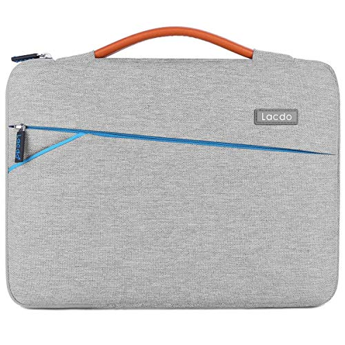 Lacdo 360° Protective Laptop Sleeve Case Briefcase for 13-13.3 Inch Apple MacBook Air | MacBook Pro Retina 2012-2015 | Surface Book | 12.9 Inch iPad Pro, Dell HP ASUS Acer Chromebook Tablet Bag, Gray