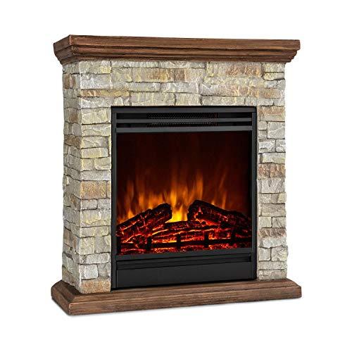 Klarstein Etna - Chimenea electrica decorativa 900 o 1800W, Imitación realista de llamas, Potencia 2 niveles, Temporizador, OpenWindow Detection, Mando distancia, Roca y madera de polystone, Marrón