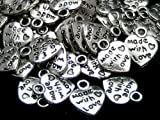 50 x MADE WITH LOVE argent tibétain Breloques Pendentifs Coeur-Valentine s Day...