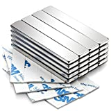 20 Pack Strong Neodymium Bar Magnets with Double-Sided Adhesive, MIKEDE Rare Earth Metal Neodymium Magnet - 60 x 10 x 3 mm