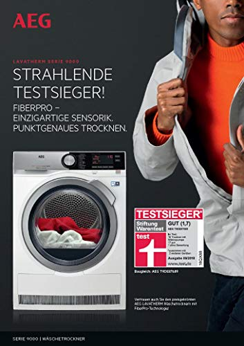 AEG T9DE87685 Wärmepumpentrockner / FiberPro – Trocknen ohne Vorsortieren / 8,0 kg / A+++ / energiesparend / Mengenautomatik / Knitterschutz / Kindersicherung / Schontrommel / Trommelbeleuchtung - 3