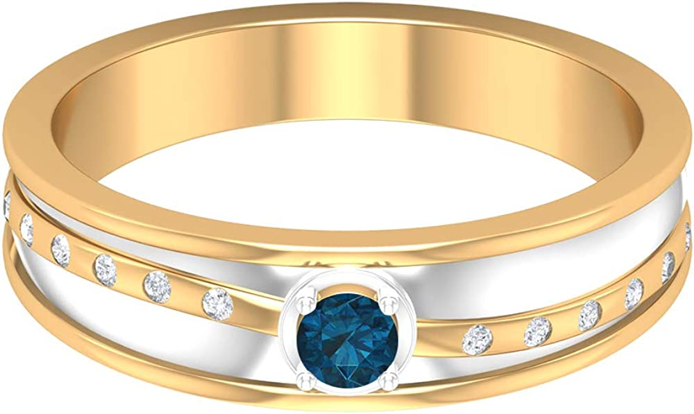 December Birthstone - 1/3 CT London Blue Topaz and Diamond Ring, Two Tone Wedding Band, Gold Wide Band Ring (AAA Quality), 14K Gold