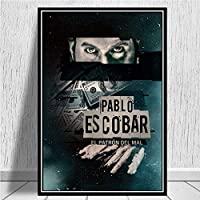 パブロ・エスコバルキャラクターレジェンドレトロビンテージポスター、版画は、ウォールアートウォールの写真のためにリビングルームのホームインテリア絵画 (Color : Green, Size (Inch) : 50x70 CM No Frame)