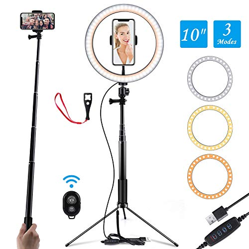 QYRL 8Inch LED Ring Light Kit for Makeup Tutorial Tiktok YouTube Video Live Stream for Ipad Microphone Phone Holder Desktop Beauty Desk Lamp,A