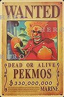 海賊アニメPEKMOS さびた錫のサインヴィンテージアルミニウムプラークアートポスター装飾面白い鉄の絵の個性安全標識警告バースクールカフェガレージの寝室に適しています