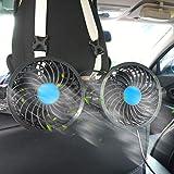 SEAMETAL Car Fan for Back Seat, Car Seat Fan Cigarette Lighter, Fan for Car 12V Headrest Black 4inches (Black)