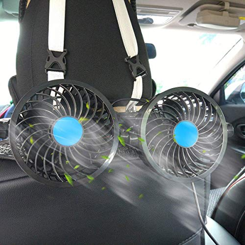 SEAMETAL Car Fan for Back Seat, Car Seat Fan Cigarette Lighter, Fan for Car 12V Headrest Black 4inches (Black)