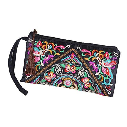 TOOGOO(R) Nueva cartera de las mujeres de Bordado Bolso del embrague d