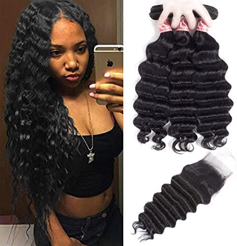 LSHAIR Loose Deep Wave Bundles with Closure 20 18 16 with 14 free part 10A Unprocessed Peruvian product image