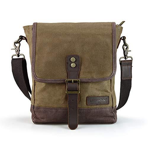 SHANGRI-LA Small Messenger Bag for Men and Women Waxed Canvas Purse Waterproof Crossbody Shoulder Satchel Bag Sling Pack - Brown