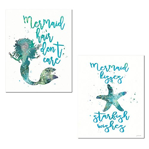 Beautiful Popular Teal and Blue 'Mermaid Hair Don't Care' and 'Mermaid Kisses, Starfish Wishes' Set; Two 11x14' Paper Posters