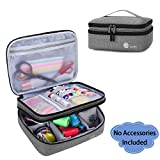 Luxja Double-Layer Sewing Supplies Organizer, Sewing Accessories Organizer for Needles, Thread, Scissors, Measuring Tape and Other Sewing Tools (Bag Only), Gray