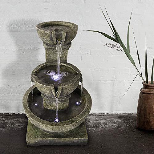 WATURE Wasserfallbrunnen im Freien - Entspannende beruhigende Gartenbrunnen im Freien, Fountain Patio Outdoor für Den Garten&Patio mit LED-Leuchtenund und charmantem Outdoor-Wasser-Feature