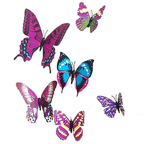 12 Pieces 3D Butterfly Stickrs Fashion Design DIY Wall Decoration House Decoration Babyroom Decoration-PURPLE by Zoo On Yoo