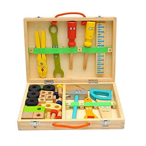 Werkzeugkasten Werkzeugkoffer Kinder Holz Mit Zubehöre, 43-teilig DIY Werkzeug Spielzeug Spielwerkzeugen Handwerker Set, Konstruktions Spielzeug Werkzeug Tischler Set Für Kinder Ab 18 Monate