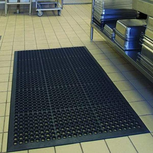 Kitchen Home Office Business Modern Large Black Anti Fatigue Rubber Rectangle Floor Mat 36 X60 Commercial Industrial Heavy Duty Drainage Non Slip Restaurant Bar Warehouse Multi Functional Floor Mats