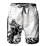 Mens Printed Shorts Pants,Motocross Racer Image Grungy Background Poster Style Monochromic Artwork Print,Quick Dry Beach Board Swim Trunks M
