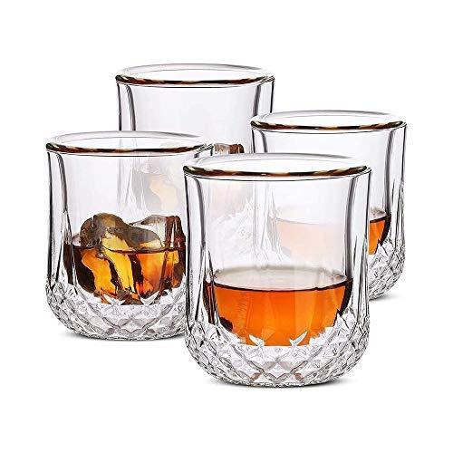 WJJ Whiskey Karaffe Whiskygläser Doppelwandig, Cocktailgläser, Scotch Gläser, Altertümlich Glas, Becherglas, Kristallglas, Wodka Gläser, Trinkgläser, Geschenke, Set 4 Whiskyflaschenregal
