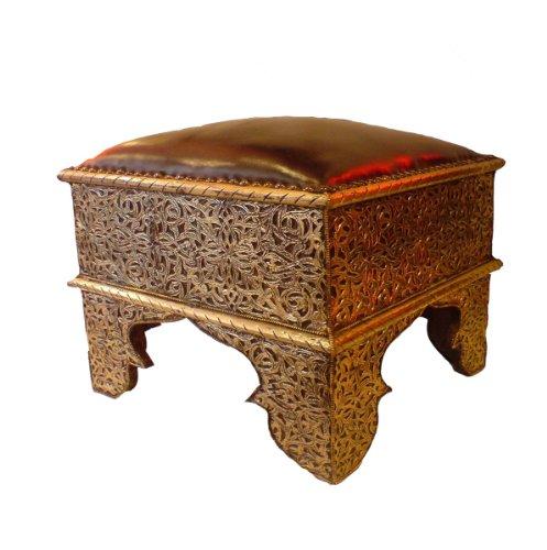 MAISON ANDALUZ - Pouf marocchino in vera pelle, quadrato in argento, 42 x 42 x 45 cm, colore: Marrone