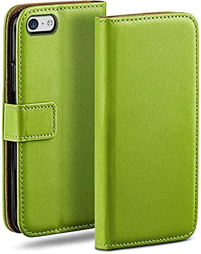 moex Klapphülle für iPhone 5c Hülle klappbar, Handyhülle mit Kartenfach, 360 Grad Schutzhülle zum klappen, Flip Hülle Book Cover, Vegan Leder Handytasche, Grün