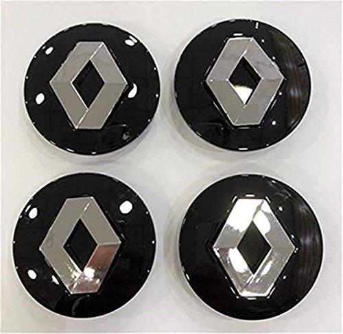 GHJHHJHJ 4x 57mm Negro Renault Megane Hub Tapas Centro de Rueda de Aleación Laguna Clio Twingo