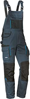 Uvex Tune-Up Long Work Trousers for Men - Elastic Waistband Dungarees with Knee Pockets - Blue - 54