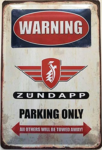 Deko7 Blechschild 30 x 20 cm Warning Zündapp Parking Only