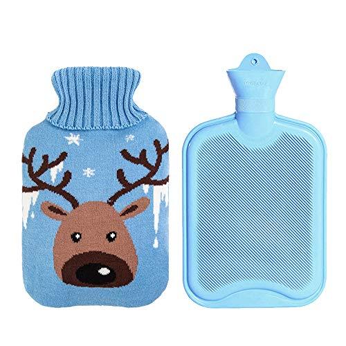Drizzle Borsa dell'Acqua Calda Bottiglia di Gomma Classica Premium Opaca Con Copertura Carina Borsa dell'Acqua Calda per Notti Accoglienti Sollievo dal Dolore Collo Posteriore 2L (Deer)