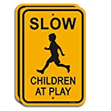 """2-Pack Slow-Children at Play Signs Slow Down Sign 18"""" x 12"""" 40Mil Rust Free Aluminum, Weather Resistant, Waterproof, Durable Ink, Easy to Mount"""