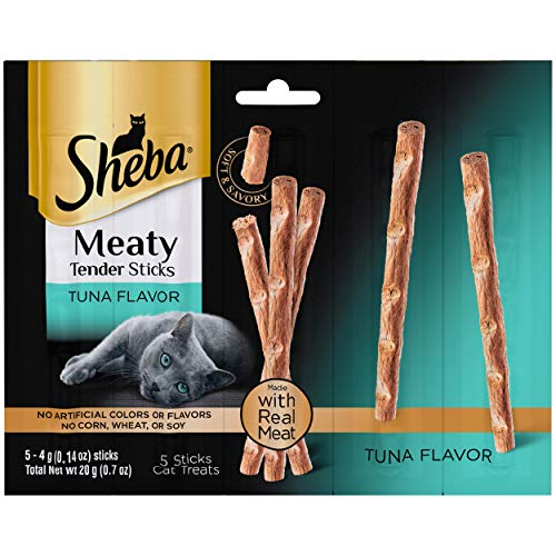 Sheba Meaty Tender Sticks Tuna Flavor Cat Treats (5 Treats), 0.7 oz - Pack of 10