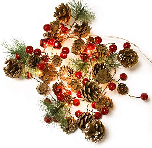 Garland with Lights Christmas Garland Lights 6.56FT 20LED Battery Operated Garland String Light Tree Garland Thanksgiving Xmas Home Holiday Decor (Pine Corn Garland)