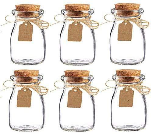 casavetro12-24 Pezzi Vetro Favor Jar con Palette in Sughero, Carta Escort And Twine Wedding Favor Party Favor Bottles Honey Pot Bottles 24 Pezzi