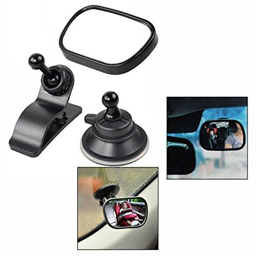 OFKPO Auto Rückspiegel,Einstellbare Auto Spiegel mit Saugnäpfe und Klammer für Baby(85×50mm)