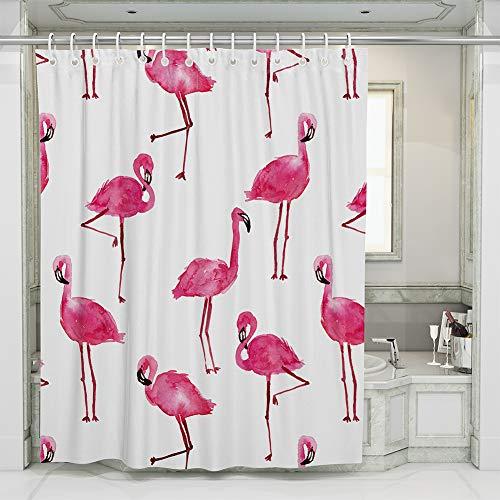 JOTOM Flamingo Duschvorhang, Badvorhang Digitaldruck Badewannenvorhang Schimmelresistenter und Wasserabweisend Shower Curtain mit 12 Duschvorhangringen 180x180cm (Flamingo)