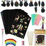 GUIFIER Rainbow Scratch Paper Kit de Arte, Manualidades de Scratch para niños: 50 Hojas de Papel de raspar de 19 * 13 cm, Divertido Juego de Actividades de Artes y Manualidades, Regalo para niñas