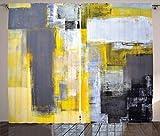 ABAKUHAUS Amarillo y Gris Cortinas, Pintura Abstracta, Sala de Estar Dormitorio...